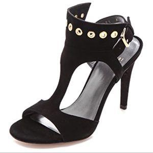 New Stuart Weitzman French Cuff Heels, Black Suede